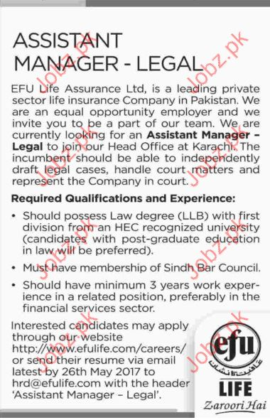 Assistant Manager Jobs In EFU Life Assurance Company