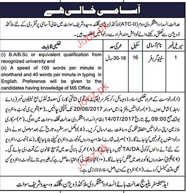 Anti Terrorism Court Malakand Division Jobs Open
