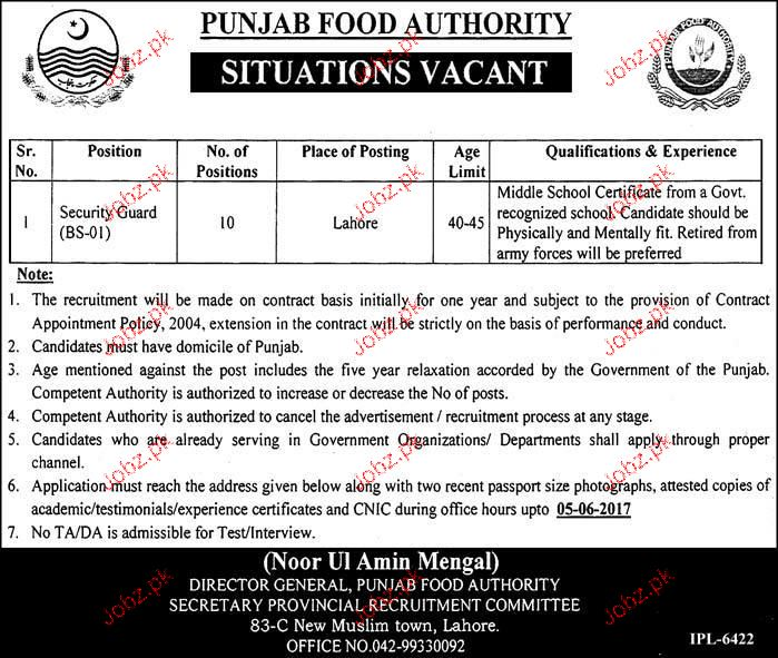 Punjab Food Authority PFA Career Opportunity