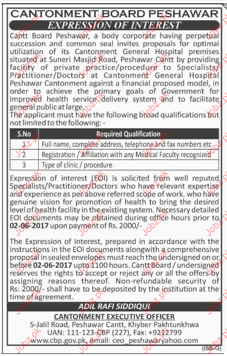 Cantonment Board Jobs Peshawar