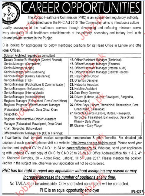 Manager JobsIn Punjab Health Care Commission PHC