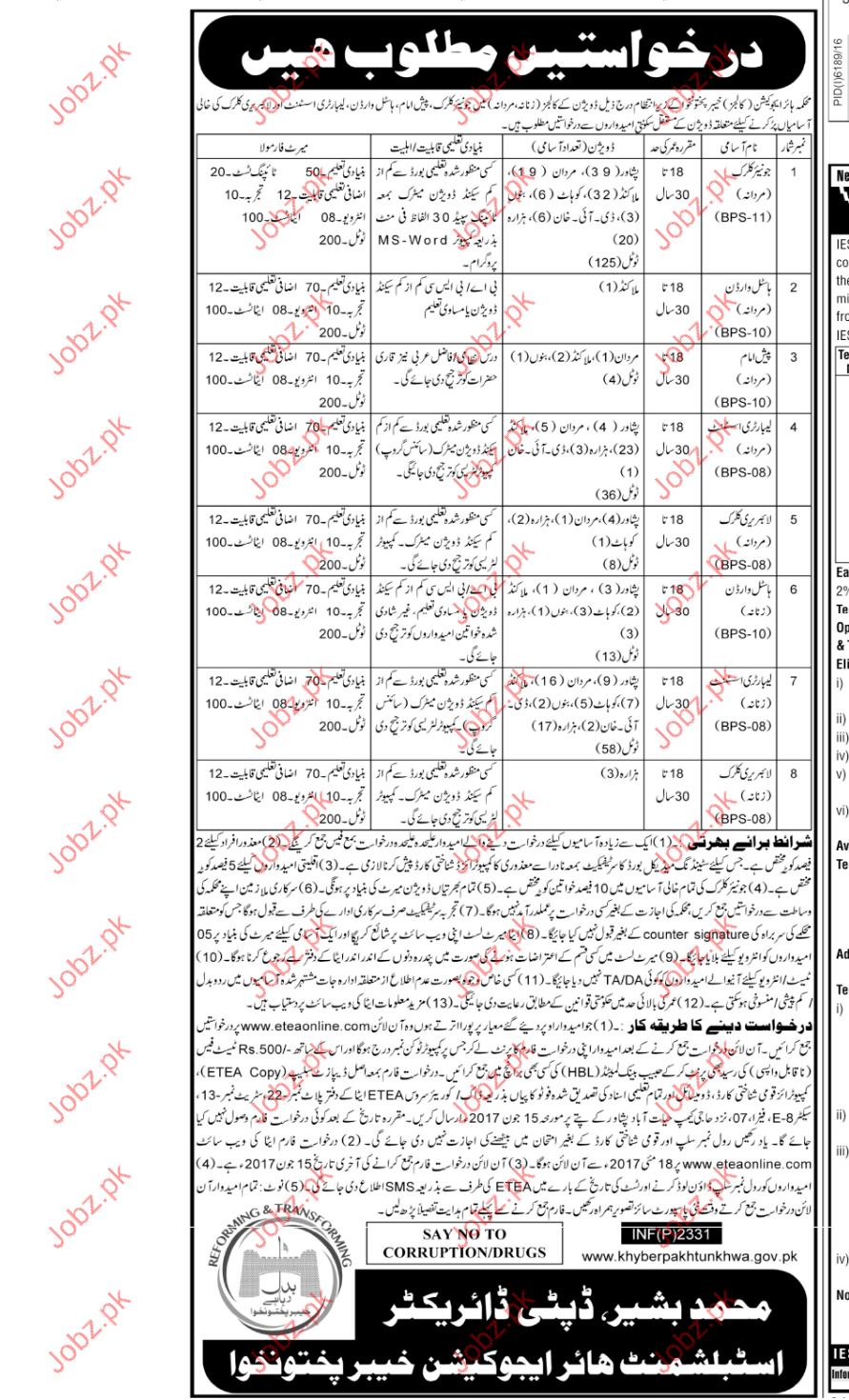 Clerical Jobs in Higher Education Commission  Departtment