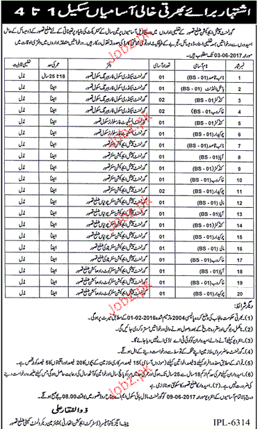 Government Special Education District Kasur Jobs
