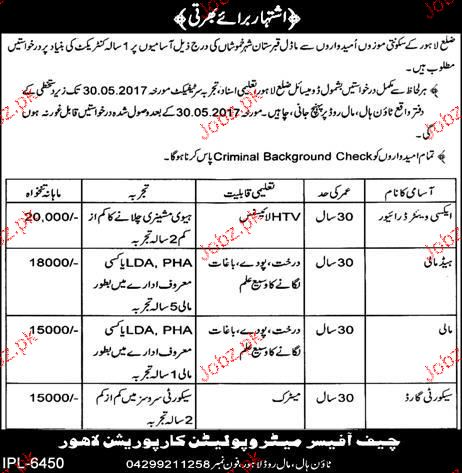 Metropolitan Corporation Lahore MPCL  Career Opportunity