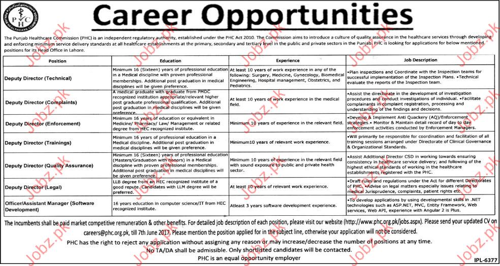 Deputy Director Job In Punjab Health Care Commission  PHC