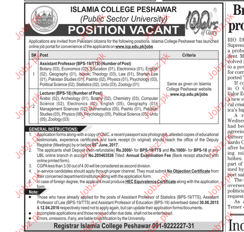 Assistant professor Jobs in Islamia Collage Peshawar