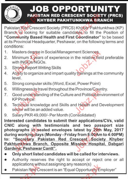 Coordinator Jobs in Pakistan Red Crescent  Society PRCS