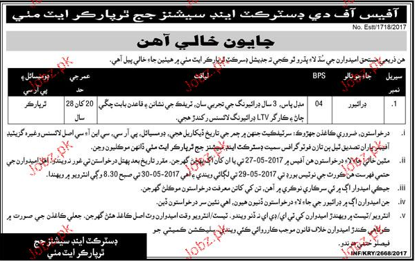 District and Session Judge Tharparkar Jobs Sindh