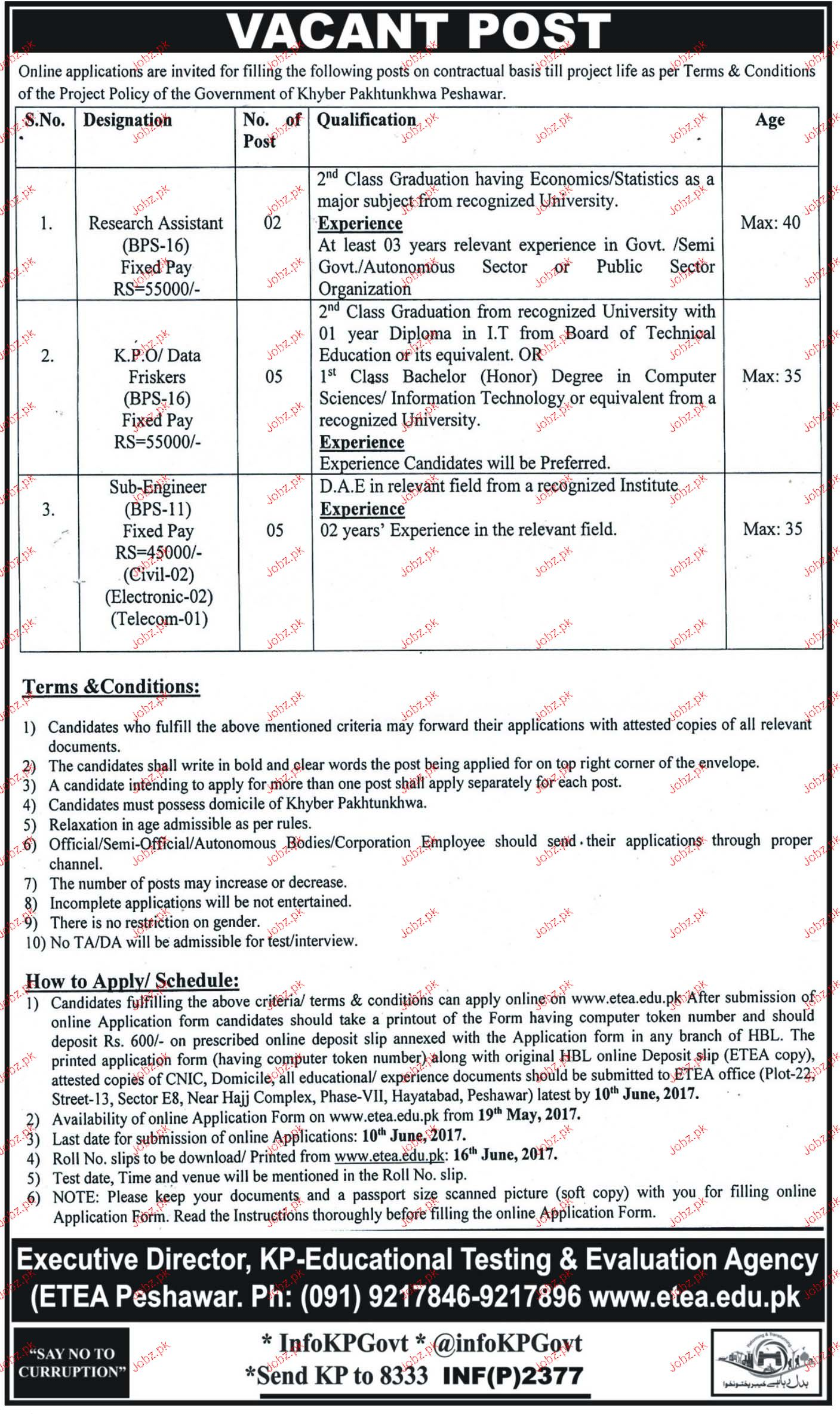 KP Educational Testing & Evaluation Agency ETEA Jobs