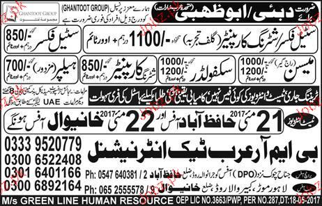 Shuttering Carpenters, Steel Fixers Job Opportunity