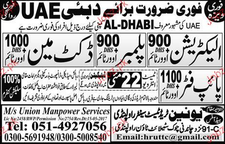 Electricians, Plumbers and Labors Job Opportunity