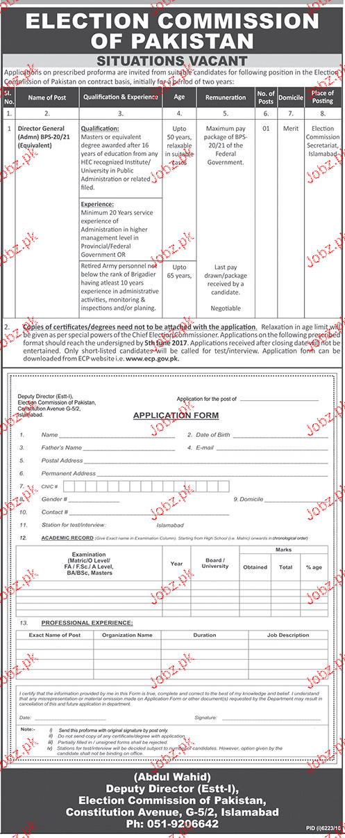 Election Commission of Pakistan ECP Management Job