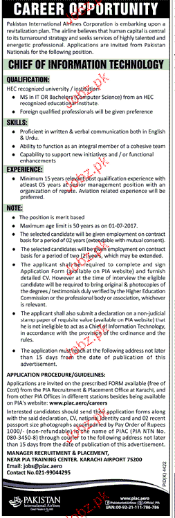 Pakistan International Airlines IT Jobs Open