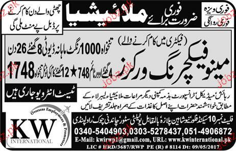 Manufacturing Workers Job Opportunity