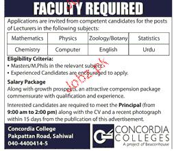 Lecturers Job in Concordia College 2019 Job Advertisement