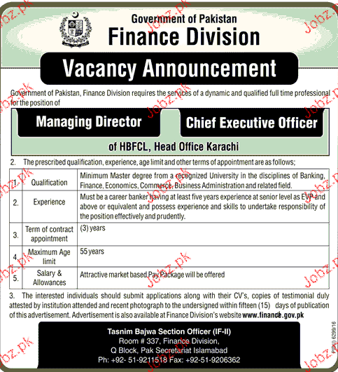 Finance Division Government of Pakistan Job Open