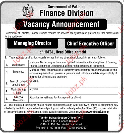 Managing Director Jibs In Finance Division Govt Of Pakistan