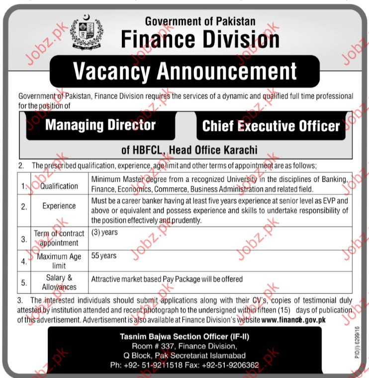 Managing Director  jobs In Finance Division
