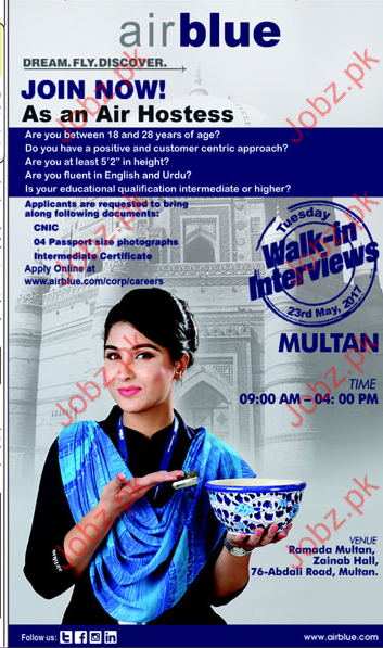 Air Hostess Jobs In Air Blue 2020 Job Advertisement Pakistan
