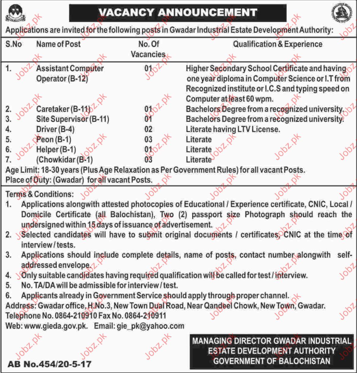 Gwadar Industrial Estate Development Authority GIEDA Jobs