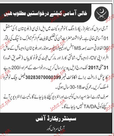Pakistan Army, Army Service Corps Center Record Wing