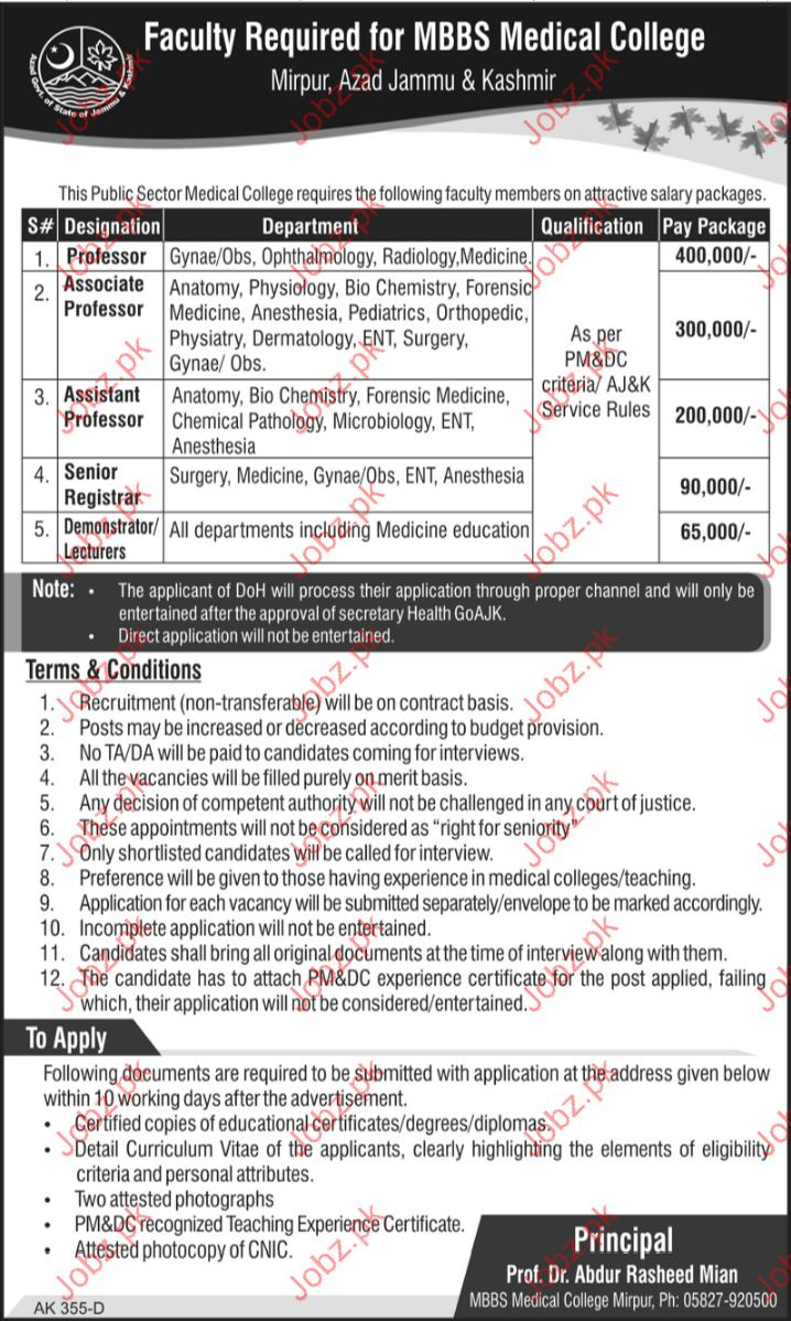 Associate Professor Jobs In Medical College Mirpur Ajk 2018 Jobs