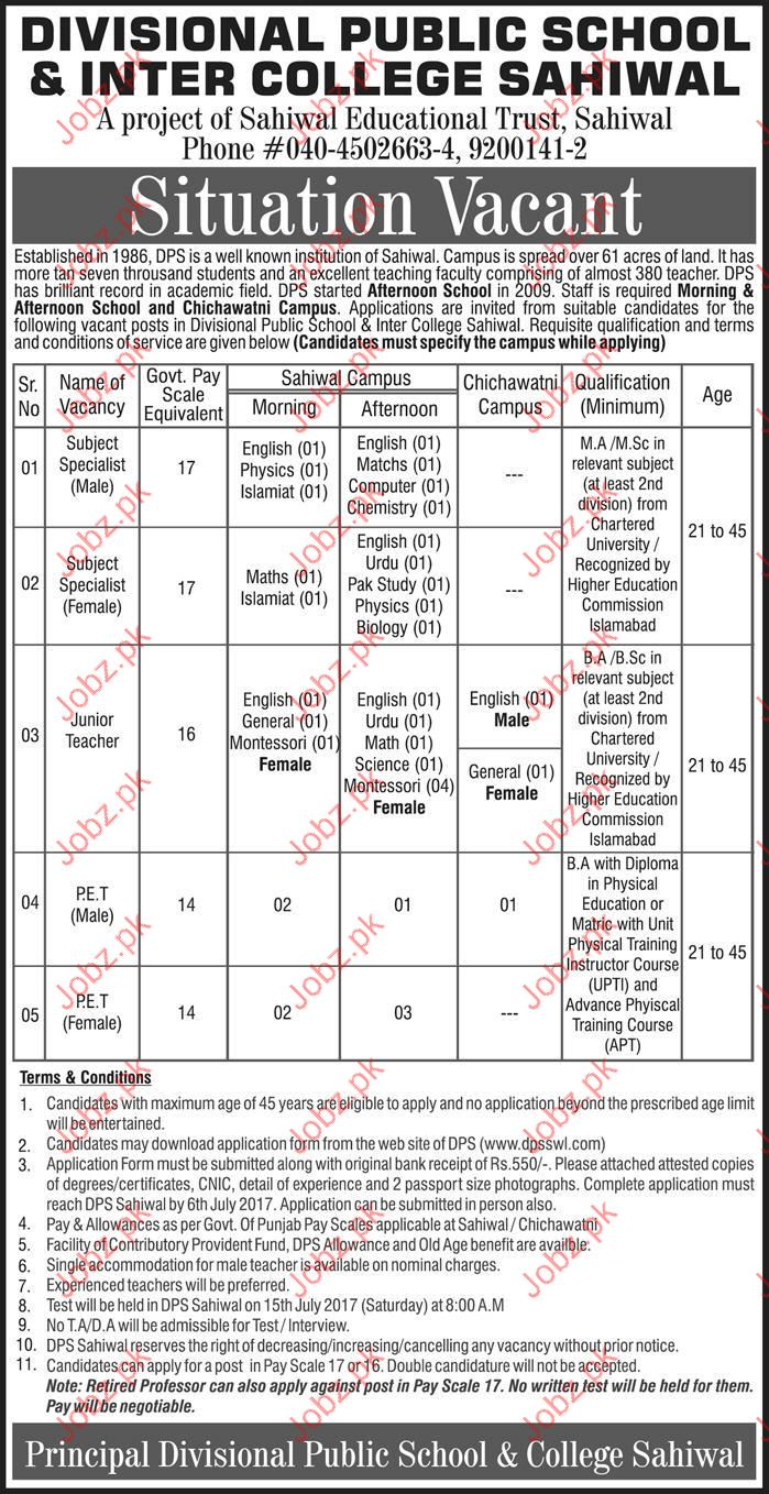 Subject Specialist Jobs In Divisional Public School