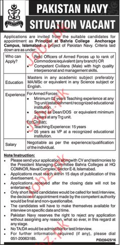Principal Job In Bahria College