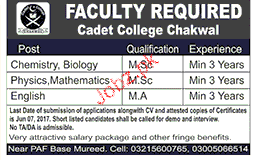 Cadet College Chakwal Teaching Jobs