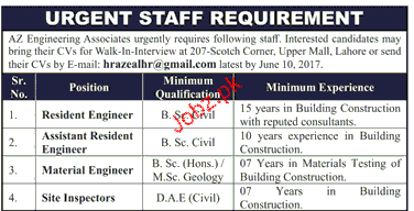 Resident Engineers, Assistant Resident Engineer Wanted