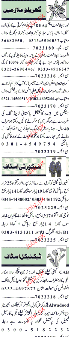 Drivers, Cook, House Maid, Helpers Job Opportunity