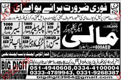 Plumbers, Plumber Helpers, Labors, Malis Job Opportunity
