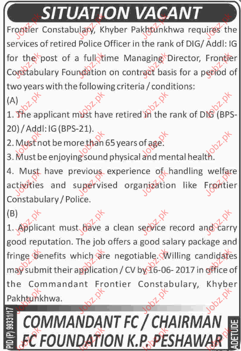 Managing Director Jobs In Frontier Constabulary  Foundation
