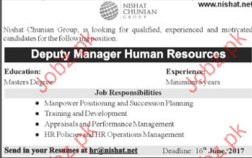 Deputy Manager Human Resources Jobs In Nishat Chunain