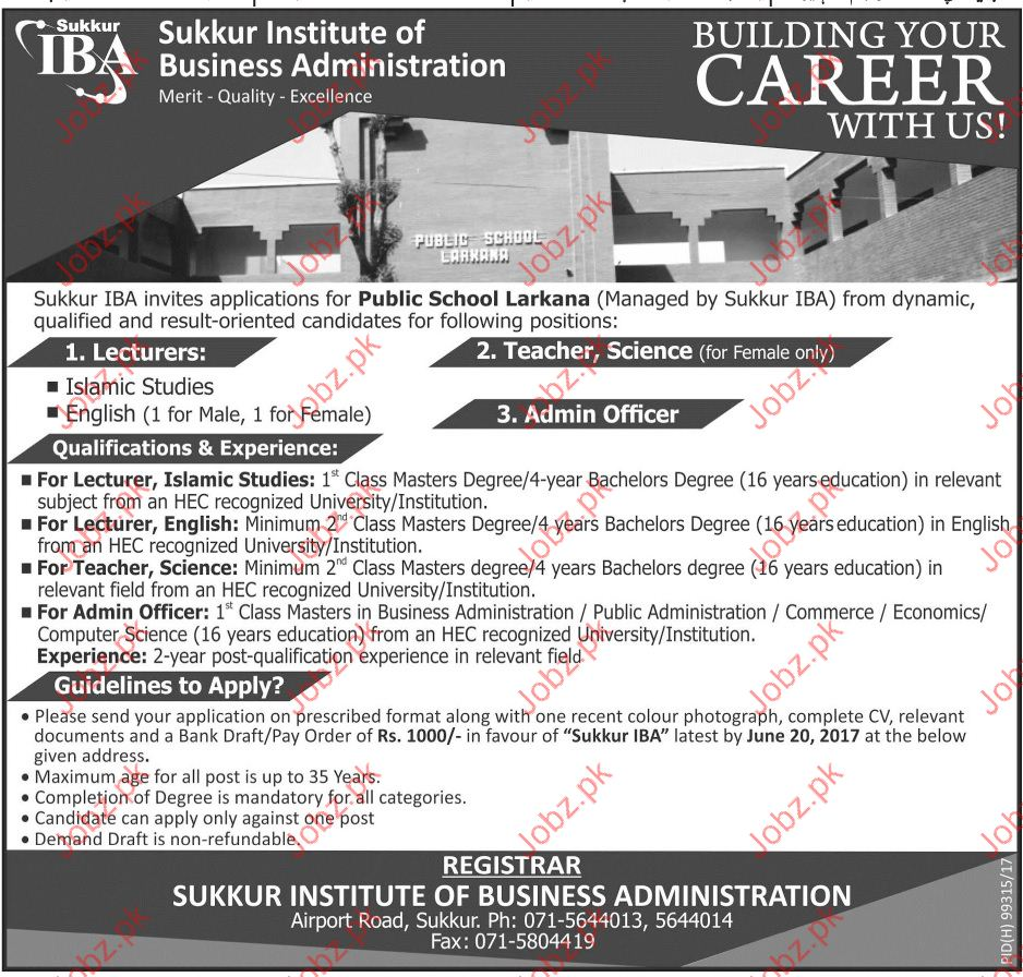 Lecturer Jobs In Sukkur Institute Of Business Administration