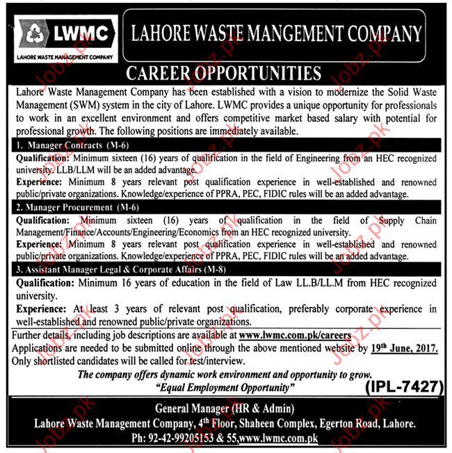 Lahore Waste Management Copany LWMC Jobs