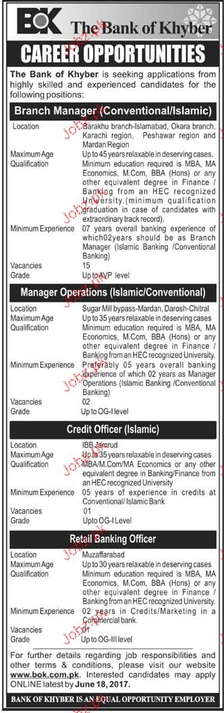 Branch Managers, Manager Operations Job Opportunity