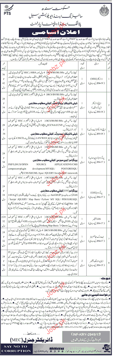 Planning and Development Department Govt of Sindh PTS Jobs