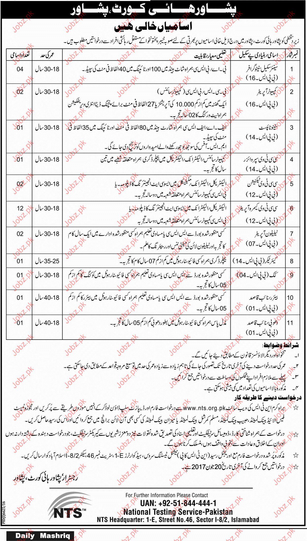 Steno Grapher Jobs In Peshawar High Court