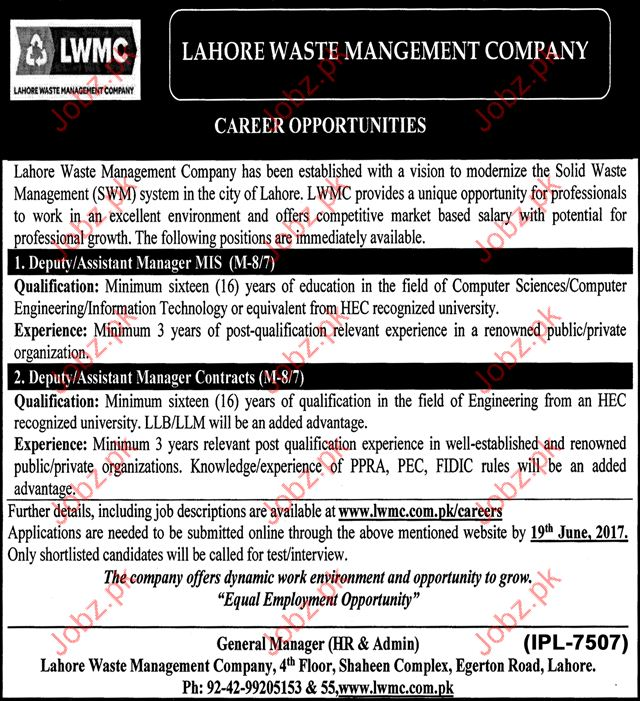 Managers Jobs In Lahore Waste Management Company
