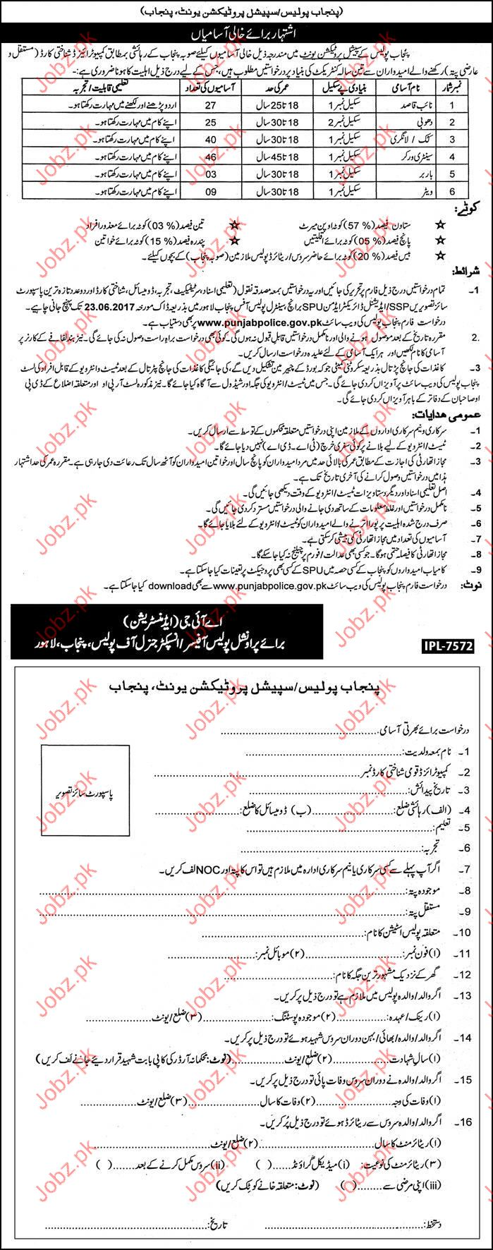Clerical Jobs In Punjab Police Protection Unit