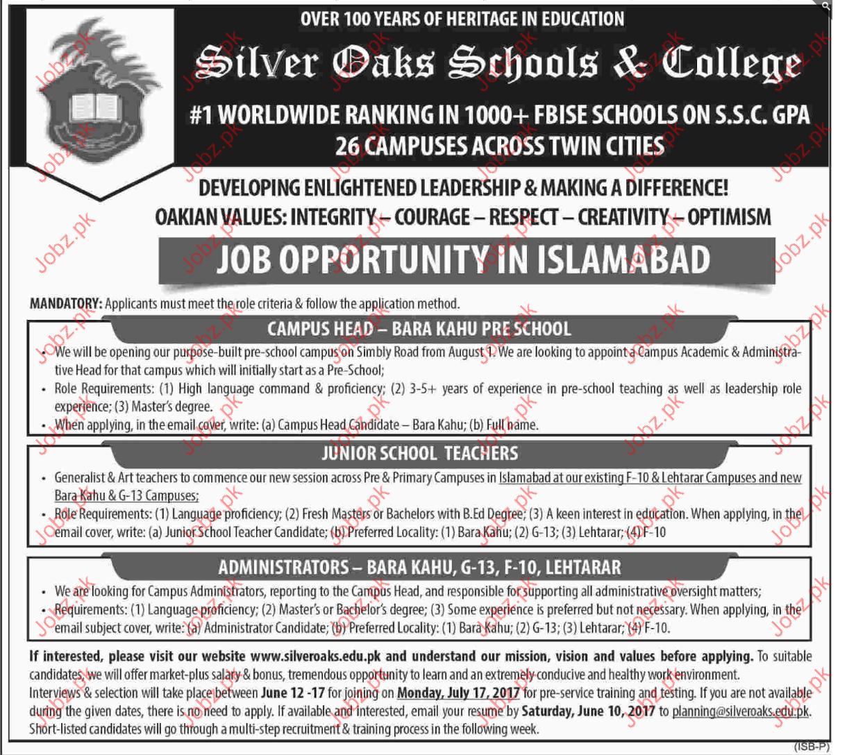 Administrator & Teachers Jobs In Silver Oaks School& College