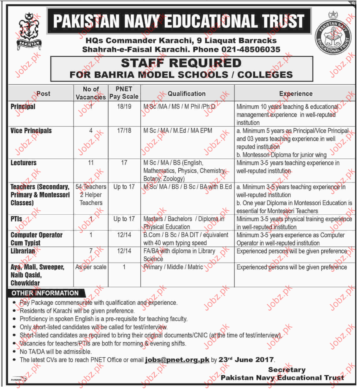 Principal Jobs In Pakistan Navy Educational Trust