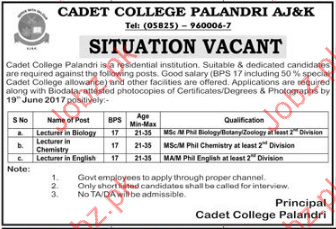 Cadet College Palandri AJ&K Wanted Staff