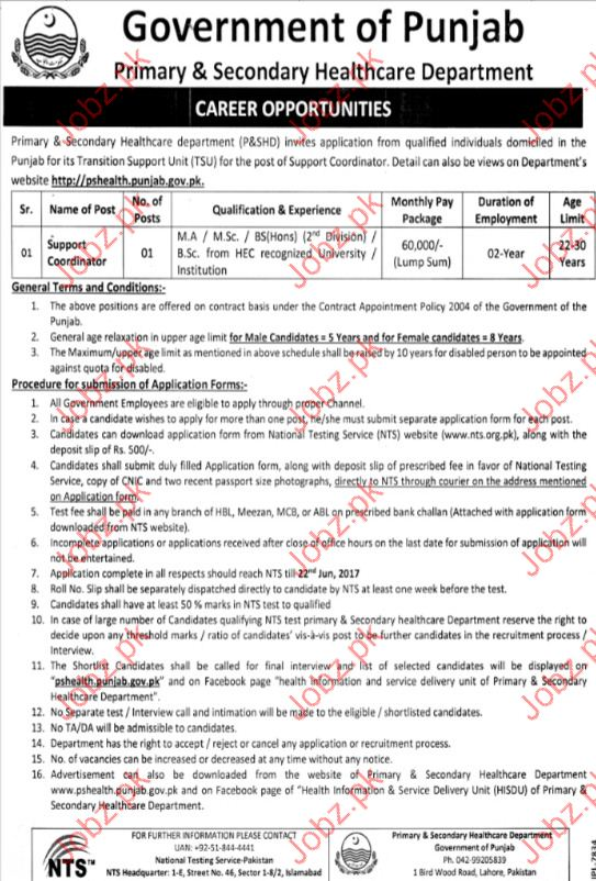 Coordinator Jobs Primary & Secondary Healthcare Department