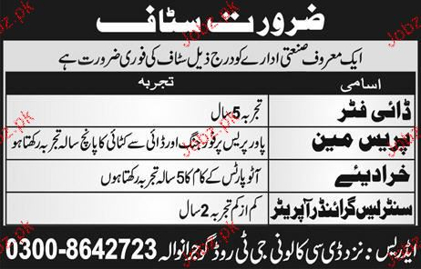 Dye Fitters, Pressmen, Khradiya Job Opportunity