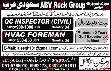 QC Inspector Civil and HVAC Foreman Job Opportunity