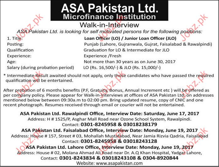 ASA Pakistan Ltd Job Opportunities