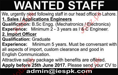 Sales Engineer and Import Officer required
