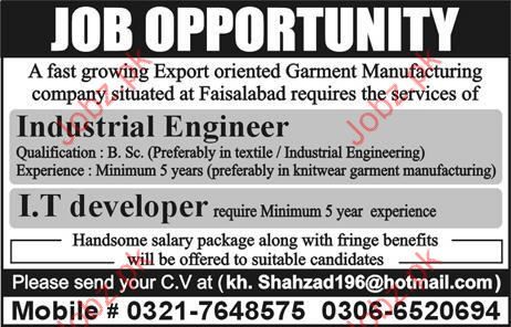 Industrial Engineer and IT Developer Jobs